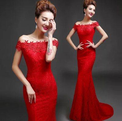 Платье русалка вечернее красное