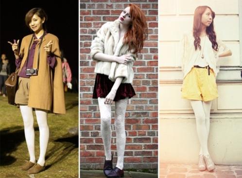 С чем носить зимой белые колготки