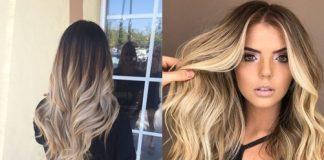 Растяжка цвета волос от темного к светлому